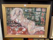 Sale 8429A - Lot 2015 - Maggie Smith - Reclining Nude, mixed media, 41 x 58cm, signed lower left
