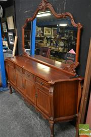 Sale 8495F - Lot 1012 - Heavily Carved Mirrored Back Sideboard