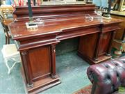 Sale 8576 - Lot 1001 - Good Early Victorian Mahogany Double Pedestal Sideboard, with boldly moulded back, above three concave frieze drawers & two panel do...