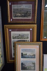 Sale 8578T - Lot 2048 - Hand-Coloured Engravings of C19th Melbourne and Sydney (framed/various sizes; (3) AF