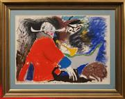 Sale 8674 - Lot 2004 - Artist Unknown - Highwayman and Dogs, mixed media on paper, 55.5 x 76.5cm, signed lower right -
