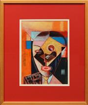 Sale 8836 - Lot 2049A - Anthony Chiappin - Cubist Head oil on board, 41 x 30cm signed lower right -
