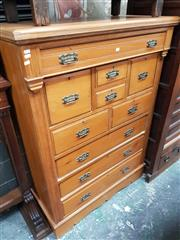 Sale 8868 - Lot 1056 - Tall Edwardian Kauri Pine Chest of Ten Drawers, with reeded fascia & plinth base
