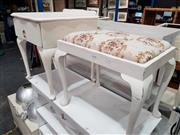 Sale 8912 - Lot 1088 - Painted Bedside and Footstool