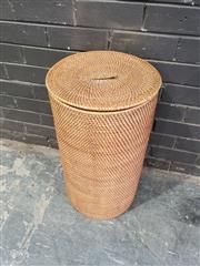 Sale 8962 - Lot 1035 - Round Wicker Hamper (H:65 x D:35cm)
