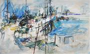 Sale 9038 - Lot 575 - Ingrid Haydon (1945 - ) - Harbour Scene, 1994 (diptych) 152 x 121 cm each (total: 152 x 242 cm)
