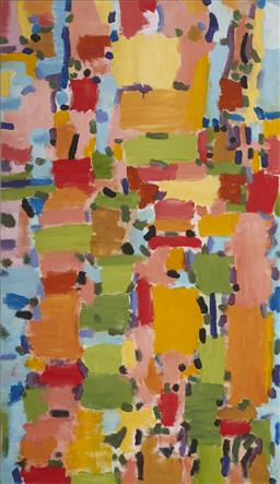 Sale 9141 - Lot 558 - Richard Larter (1929 - 2014) Suburb, 1997 acrylic on canvas 181 x 104 cm signed lower right