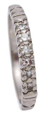 Sale 9095 - Lot 303 - A VINTAGE DIAMOND PLATINUM BAND; set across the top with 6 single cut diamonds, width 1.8mm size K, wt. 3.25g.