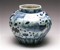 Sale 9110 - Lot 89 - A large blue and white pot with fish design, character mark to base (H:32cm)