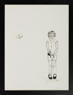 Sale 9155 - Lot 2024 - SHALINI JARDIN Girl with Umbrella ink and pencil 74.5 x 55.5 cm (frame: 83 x 54 x 3 cm) .