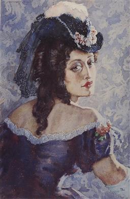 Sale 9170A - Lot 5051 - NORMAN LINDSAY (1879 - 1969) - Rita of the Eighties 53 x 34.5 cm (frame: 80 x 64 x 4 cm)