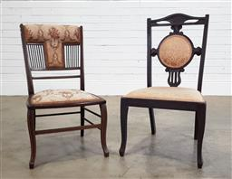 Sale 9191 - Lot 1085 - Pair of matched Victorian parlour chairs (h80 x w45 x d40cm)