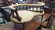 Sale 8402 - Lot 1026 - Late Victorian Carved and Veneered Walnut Love/Conversation Seat with S Shaped back and Turned Gallery