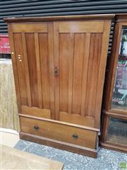Sale 8601 - Lot 1485 - Two Door Wardrobe with Drawer Below