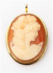 Sale 8414A - Lot 67 - An 18ct gold cameo, drop 3.5cm