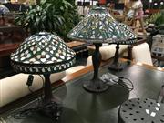 Sale 8795 - Lot 1070 - Pair Of Leadlight Table Lamps & Another