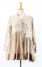 Sale 8891F - Lot 28 - A pero cotton/silk blend striped smock shirt with floral embroidery, size 38