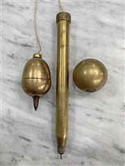Sale 8951P - Lot 368 - Set of 3 Unusual Brass Plumb Bobs (largest 26cm)