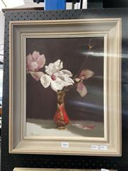 Sale 8978 - Lot 2001 - G Hammond Magnolias In Red Oriental Vase, oil on board, 47 x 40 cm, signed lower left