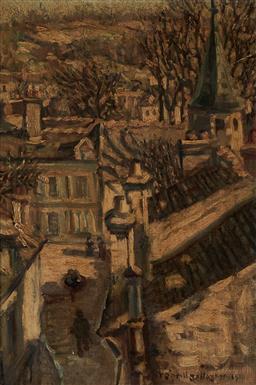 Sale 9125A - Lot 5054 - Frederick O'Neill Gallagher - European Town, 1910 34 x 23.5 cm (frame: 46 x 36 x 3 cm)