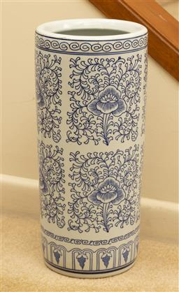 Sale 9164H - Lot 14 - A blue and white ceramic umbrella stand, Height 45cm