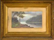 Sale 8394 - Lot 590 - Valentine (Val) Delawarr (active c1880s - 1900) - Rowing Down Stream 20 x 37.5cm