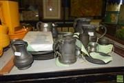 Sale 8509 - Lot 2327 - Collection of Pewter Tankards, Plates, & Book
