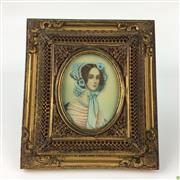 Sale 8562R - Lot 92 - Gilt Bronze Framed Miniature (H: 16cm)