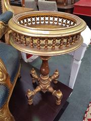 Sale 8666 - Lot 1027 - Gilt Side Table or Stand, with turned gallery top, pedestal on cruciform base with turned feet