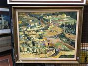 Sale 8753 - Lot 2071 - P. E Bergman - Israel Townscape oil on board, 59.5 x 69cm (frame), signed lower right -