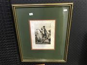 Sale 8981 - Lot 2042 - Horace Vernet Print of the Battle of Wagram (detail), won by Napoleon, frame 52x43cm