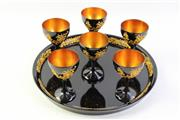 Sale 8997A - Lot 648 - Chinese Black lacquered tray (dia35.5cm) together with matching goblets with gilt decoration