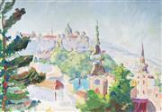 Sale 9013 - Lot 588 - Bela Kadar (1877 - 1956) - Overlooking Budapest 23.5 x 33.5 cm (frame: 51 x 60 x 2 cm)