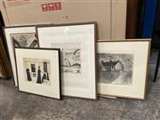 Sale 9072 - Lot 2070 - A good group of assorted artworks including contempary etchings, work on paper by Jan Percival, 50s Portrait, charcoal of a Cottage ...