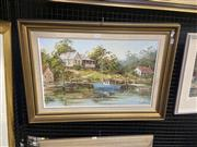 Sale 9082 - Lot 2033 - John Hingerty  Hawkesbury River, oil on canvas, on board, frame: 54 x 27 cm, signed lower right