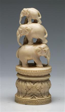 Sale 9138 - Lot 37 - Carved Ivory Elephant Figural Group (H:13cm)