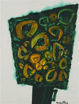 Sale 9161 - Lot 529 - STANISLAUS IVAN RAPOTEC (1913 - 1997) Bouquet in Green, c1985 acrylic on board 66.5 x 51 cm (frame: 72 x 57 x 2 cm) signed lower right