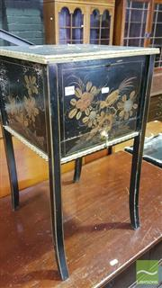 Sale 8375 - Lot 1090 - Vintage Chinese Black Lacquered Sewing Box, with lift-lid revealing a satin lined interior above a drawer
