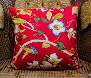 Sale 8420A - Lot 93 - A red floral Oriental style decorative cushion, 45 x 45cm