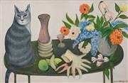Sale 8504 - Lot 517 - Yvonne Atkinson (1918 - 1999) - Still Life and Cat 59.5 x 90.5cm