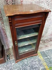 Sale 8559 - Lot 1061 - Late Victorian Walnut Music Cabinet, with glass panel door, enclosing velvet lined interior & labelled shelves