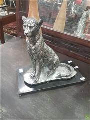Sale 8620 - Lot 1098 - Silver Coloured Leopard Figure
