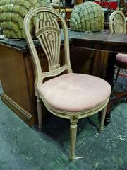 Sale 8653 - Lot 1037 - Pair of Louis XVI Style Montgolfier or Balloon Back Chairs, painted cream & green, the backs alluding to early balloon flights, up...