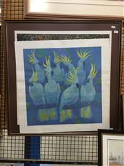 Sale 8771 - Lot 2052 - Lars Knudsen - Sulphur Crested Cockatoos screenprint ed. 330/750, 74 x 74cm (frame), signed -