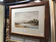 Sale 8779 - Lot 2023 - Henri Tevvitt, River Scene with Figure and Canoe, watercolour, 47 x 59.5 cm (frame size), signed lower right