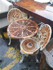 Sale 8822 - Lot 1513 - Cast Iron Garden Table & Two Chairs