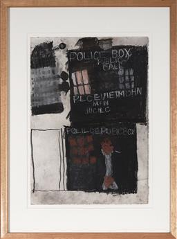 Sale 9091 - Lot 2031 - Leo Cussen (1959 - 2015) Untitled (Doctor Who TARDIS & Dalek), 2006 charcoal and pastel, 72 x 53cm, Art Project label verso -