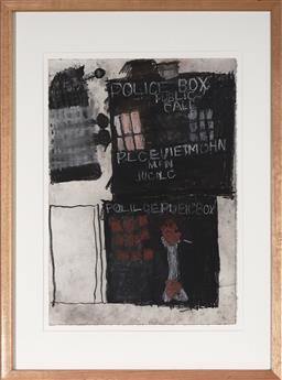 Sale 9084 - Lot 594 - Leo Cussen (1959 - 2015) - Untitled (Doctor Who TARDIS & Dalek), 2006 50 x 35 cm (frame: 72 x 53 x 2 cm)