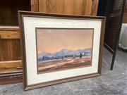 Sale 9091 - Lot 2071 - Mel Smith Western Plains Sunset  watercolour 56 x 72cm, signed