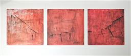Sale 9191A - Lot 5032 - KATHERINE DRISCOLL Broken Promise (triptych) drypoint etching and monoprint ink and gouache on Dutch etching paper 50 x 50 cm, each ...